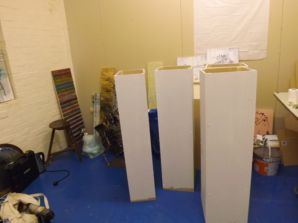Almost finished- the plinths in the studio