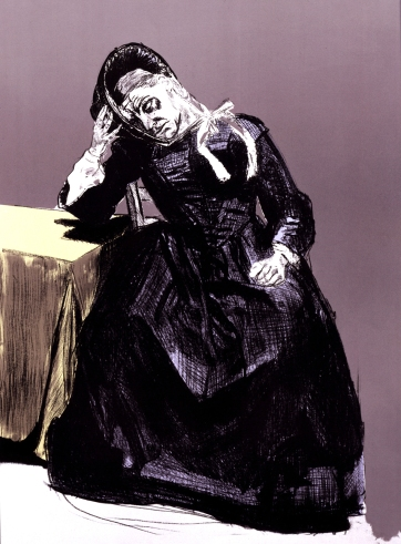 From Paula Rego, 'The Guardian', from Jane Eyre. Lithographs. Copyright the artist. All images courtesy of Marlborough Fine Art. 'In the Comfort of the Bonnet' (2001-02)